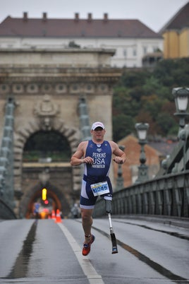 USA Paratriathlon Athlete of the Year Matt Perkins in Budapest. Photo: Janos Schmidt/USA Triathlon