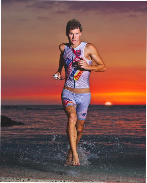 The February cover of <em>Triathlete</em> was shot at sunset at the Mauna Lani.
