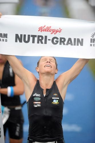 Warriner earned her first Ironman title in her Ironman debut. Photo: Delly Carr
