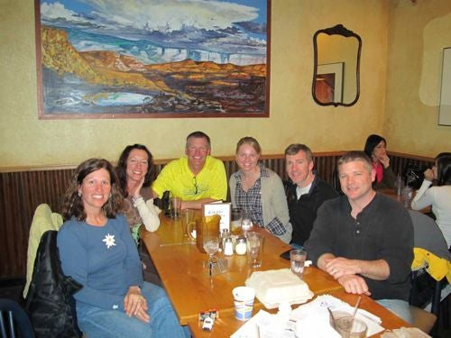 I met up with Amy (far left) and her friends for dinner after their race earlier that day.
