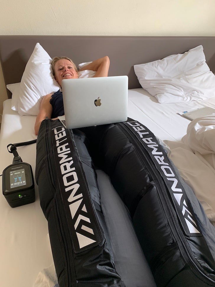 Helle Frederiksen multitasks during her recovery routine