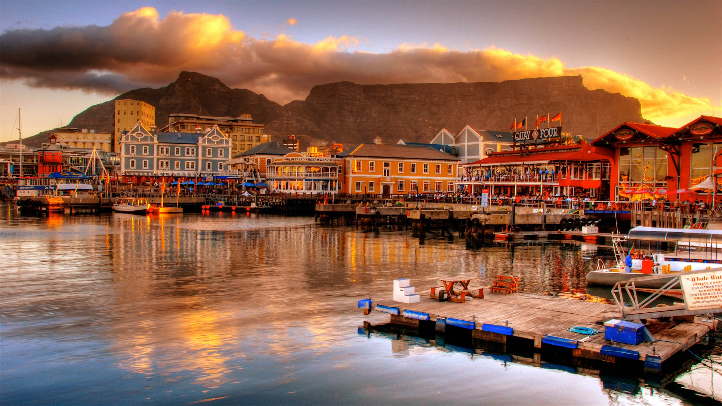 A view of Table Mountain from the newly renovated Victoria and Alfred Waterfront