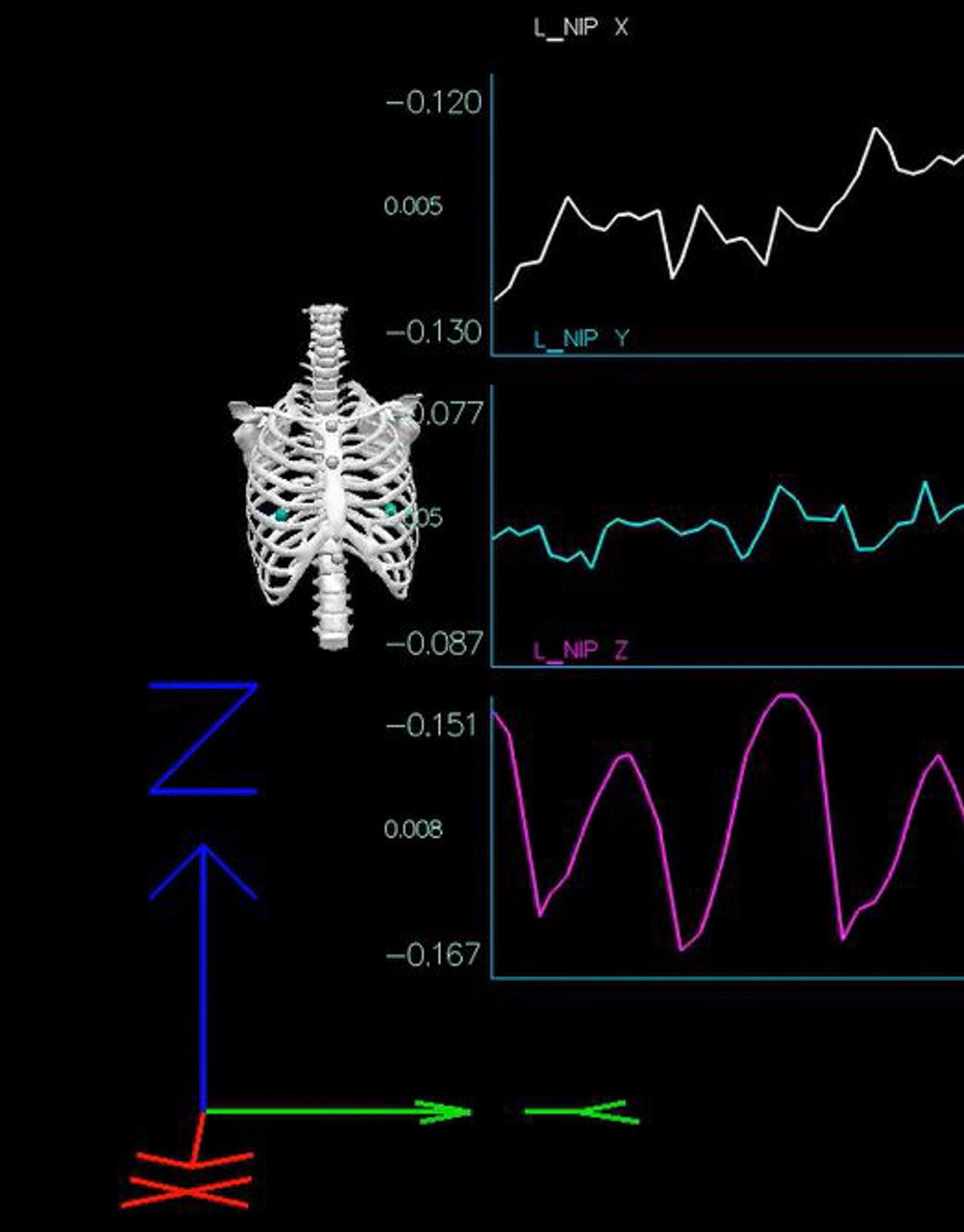 Sports bra motion testing 3D graph
