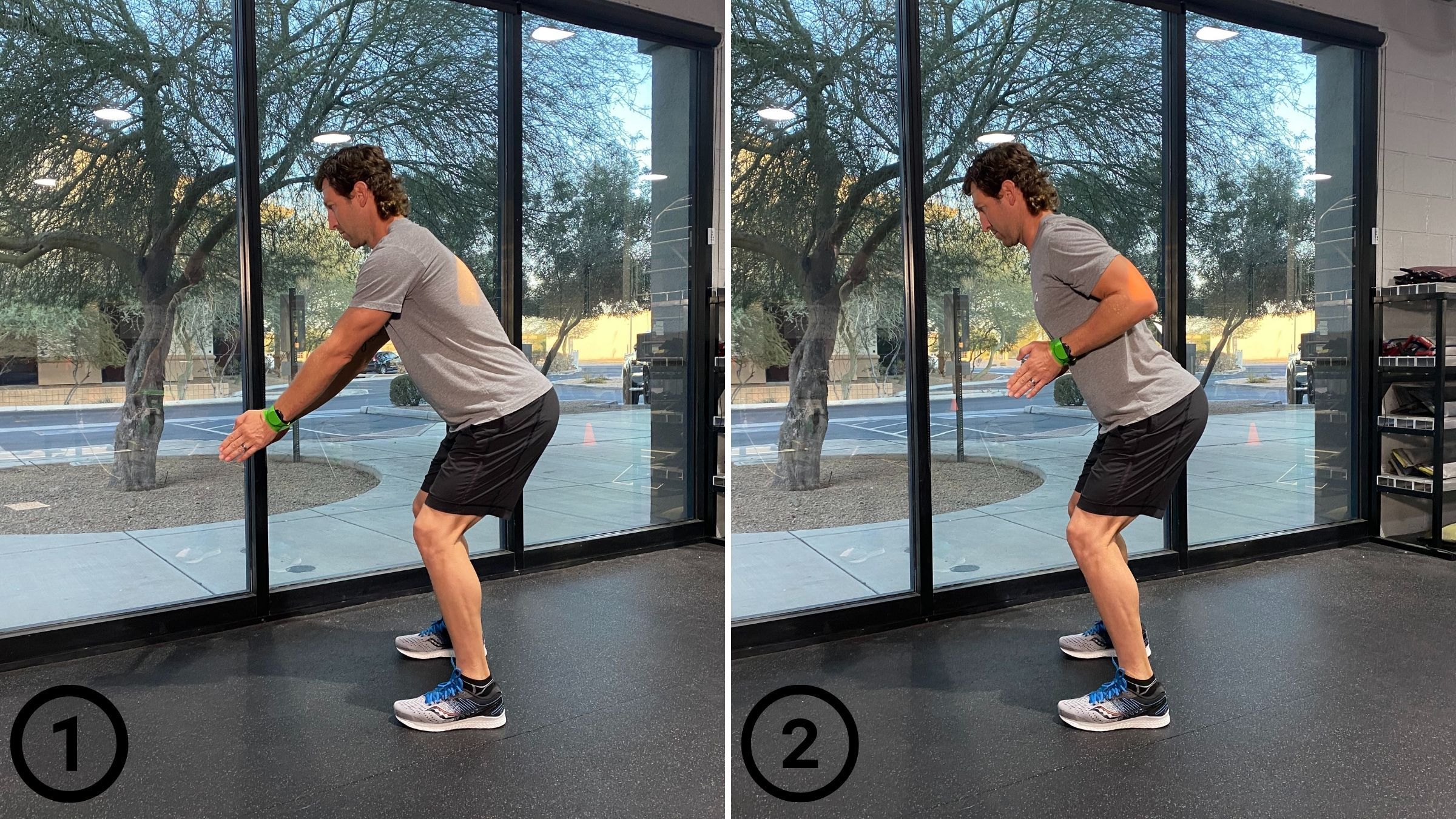 A bent-over row resistance band exercise.