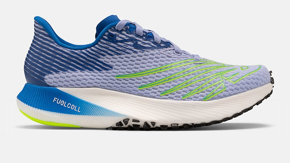 Blue and white New Balance Fuel Cell Elite with neon yellow accents