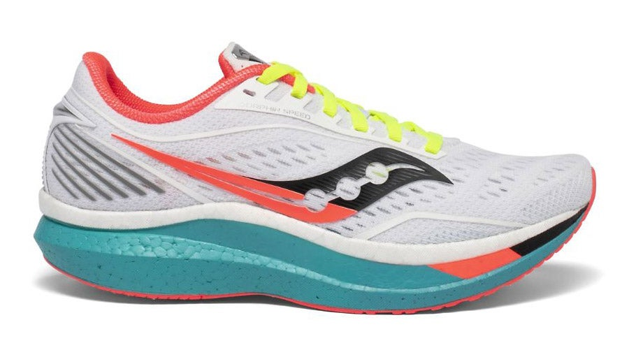 White, coral, and teal Saucony Endorphin Speed with neon yellow laces