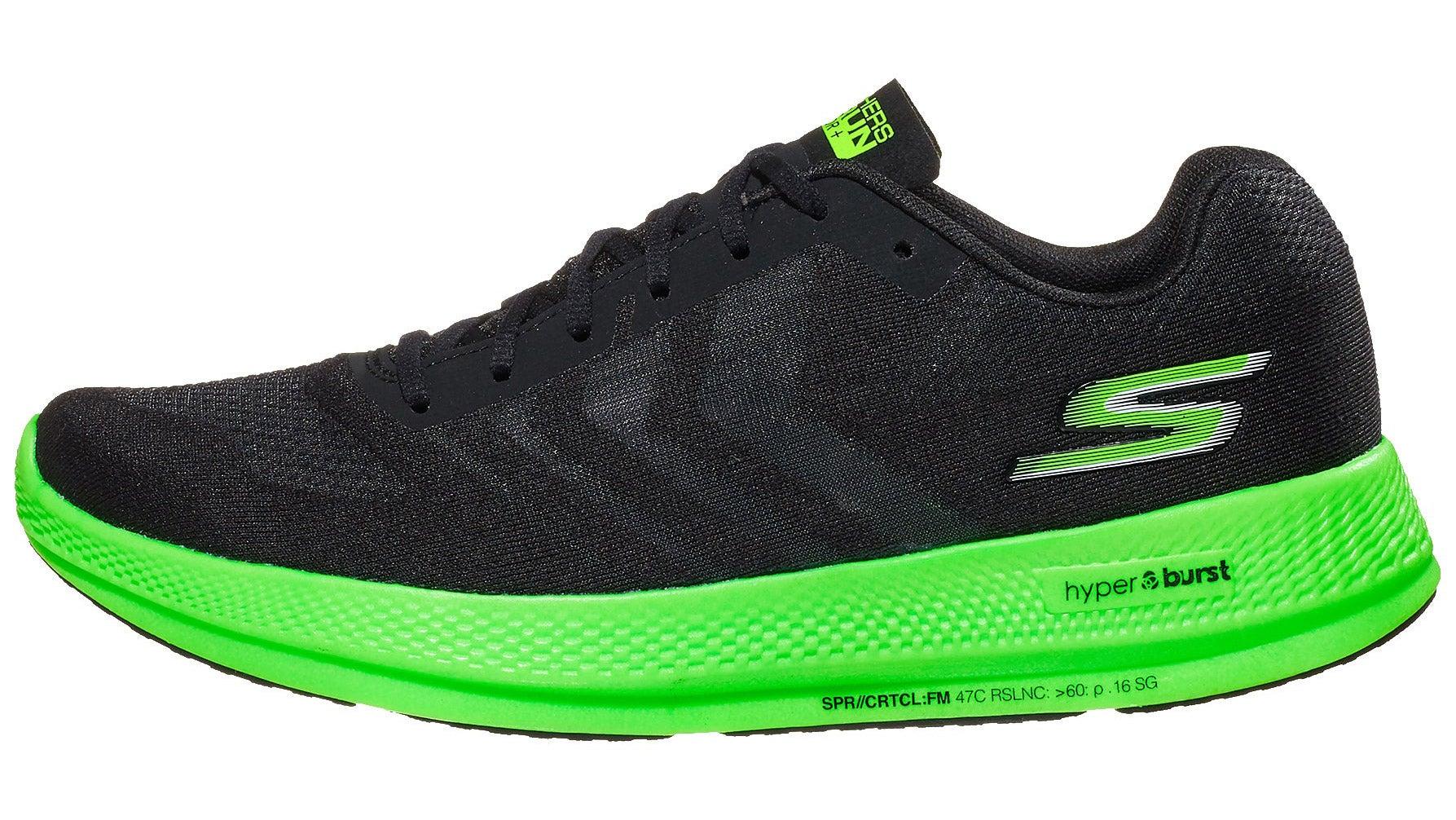 Black and neon green Sketchers GOrun Razor + Hyper