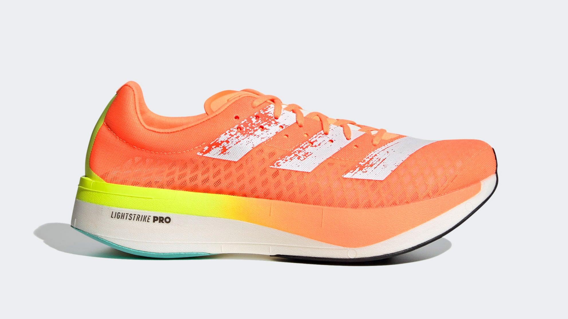 Orange and white Adidas Adizero Adios Pro